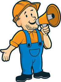 Construction worker holding a bullhorn